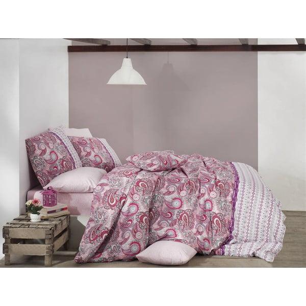 Bavlněné povlečení na dvoulůžko s prostěradlem Violetta Pink, 200x220cm