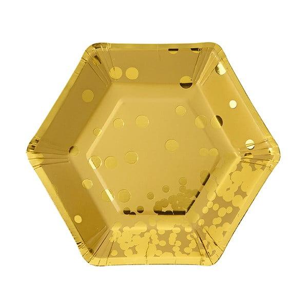 Sada 8 papírových talířů Talking Tables Hexagonal Gold