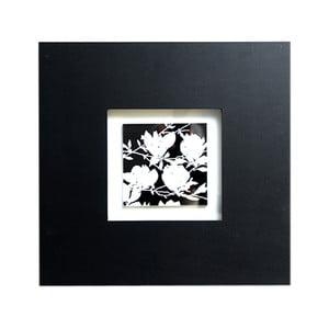 Dřevěný obraz Black and White Flower, 35x35 cm