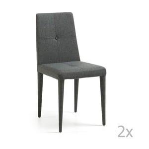 Sada 2 tmavě šedých židlí La Forma Chic