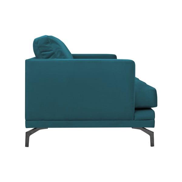 Tyrkysová trojmístná pohovka s podnožím v černé barvě Windsor & Co Sofas Jupiter
