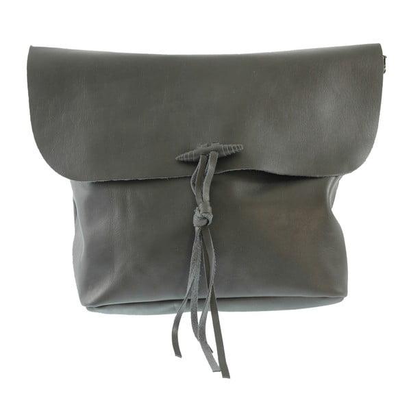 Szara damska torba skórzana z paskiem na ramię Chicca Borse Ragida