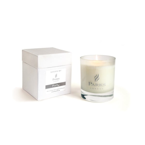 Sviečka s vôňou orchideí a gardénií Parks Candles London Moods White, 50 hodín horenia