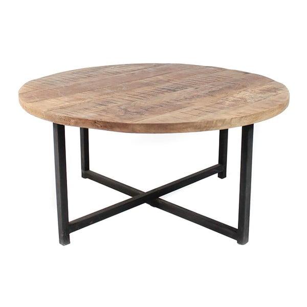 Černý konferenční stolek s deskou z mangového dřeva LABEL51 Dex, ⌀60 cm