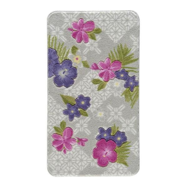 Vzorovaná fialová předložka do koupelny Confetti Bathmats Tropical, 80 x 140 cm