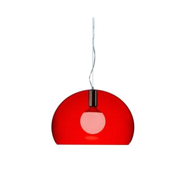 Menší červené stropní svítidlo Kartell Fly