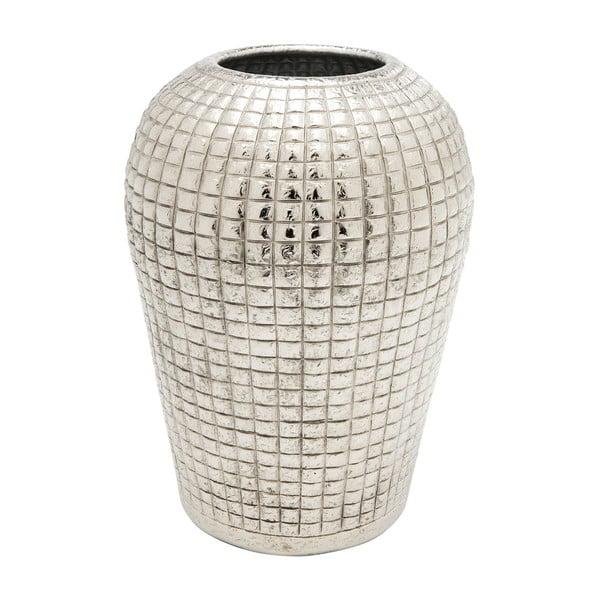 Hliníková váza v striebornej farbe Kare Design Cubes, výška 29 cm