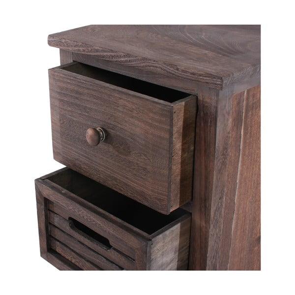 Hnědá dřevěná komoda se 4 zásuvkami Mendler Shabby