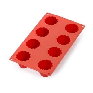 Červená silikonová forma na 8 mini bábovek Lékué