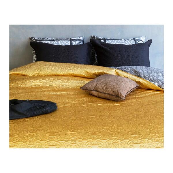Přehoz přes postel z mikroperkálu ve zlaté barvě na dvoulůžko Sleeptime Clara Satin,260x250cm