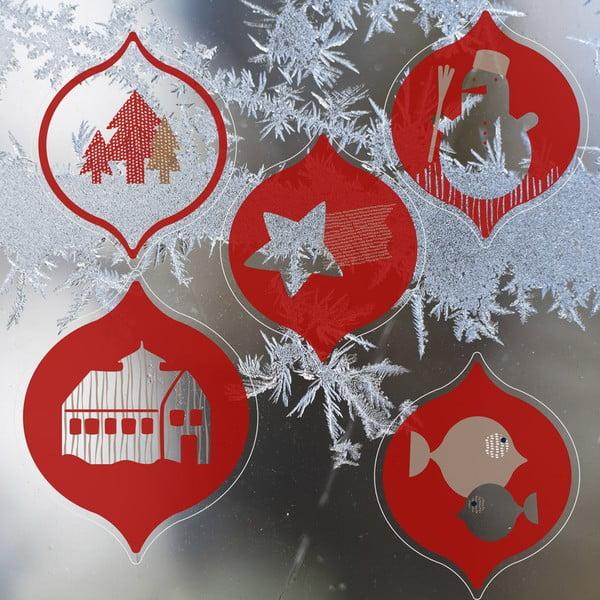 Elektrostatická samolepka Červené vánoční ozdoby, 2x5 ks