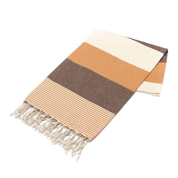 Hammam osuška American Stripes Brown & Orange, 100x180 cm