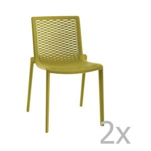 Sada 2 zelených zahradních jídelních židlí Resol Net-Kat