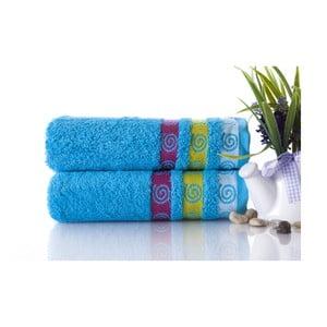 Set dvou ručníků Truva Turquoise, 50x90 cm