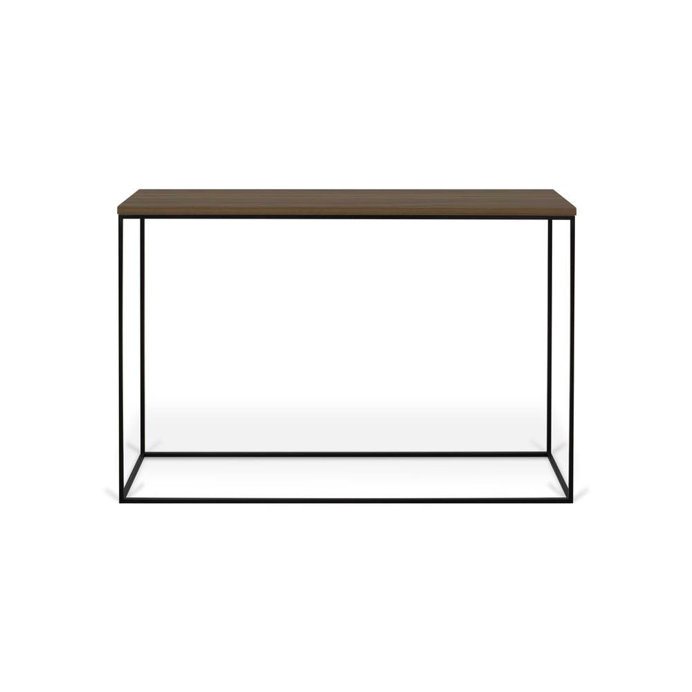 Konzolový stolek s deskou z ořechu a černýma nohama TemaHome Gleam TemaHome