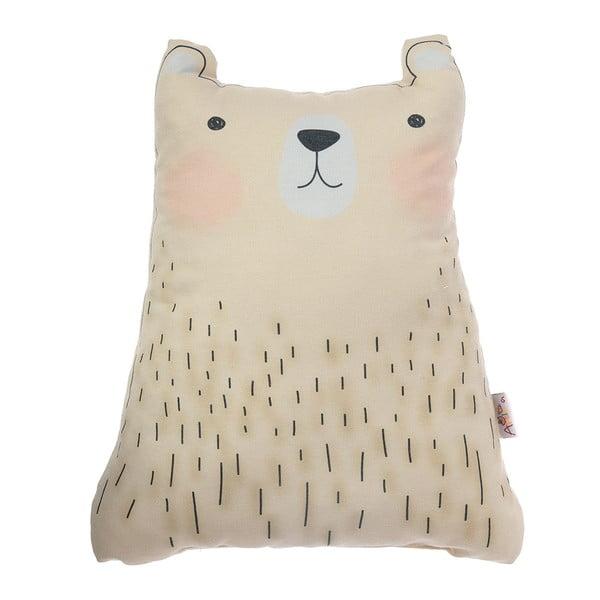 Pernă din amestec de bumbac pentru copii Apolena Pillow Toy Bear Cute, 22 x 30 cm, maro