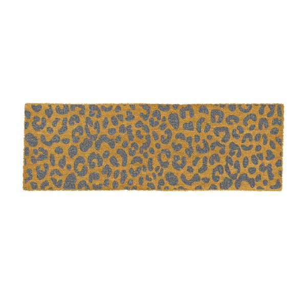 Šedá rohožka z přírodního kokosového vlákna Artsy Doormats Leopard, 120x40cm