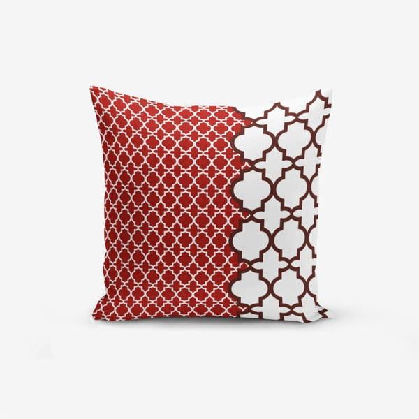 Față de pernă cu amestec din bumbac Minimalist Cushion Covers Modern Geometric Rojo, 45 x 45 cm