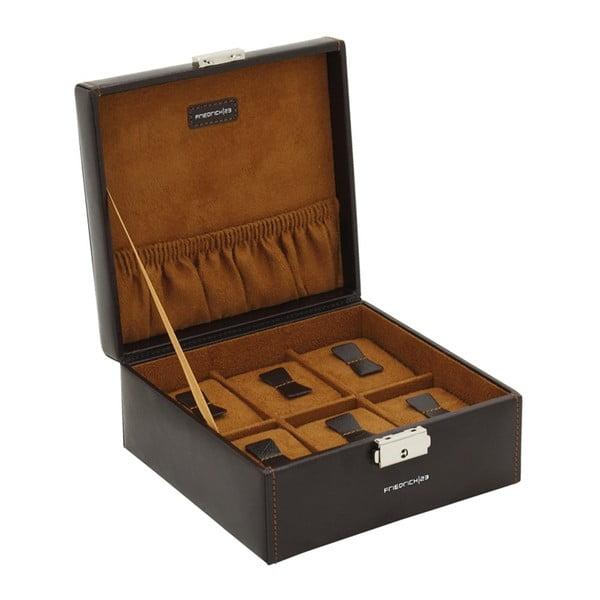 Černý box na 6 hodinek s hnědým polstrováním Friedrich Lederwaren