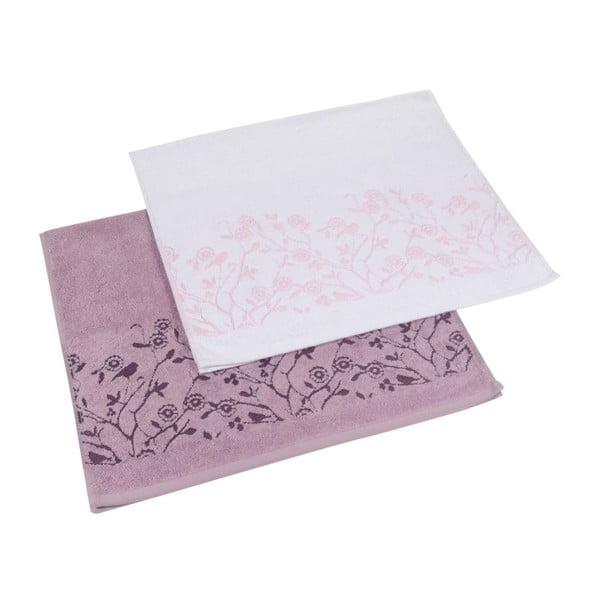 Sada 2ks ručníků Antenne Blanc/Lilas, 50x90 cm