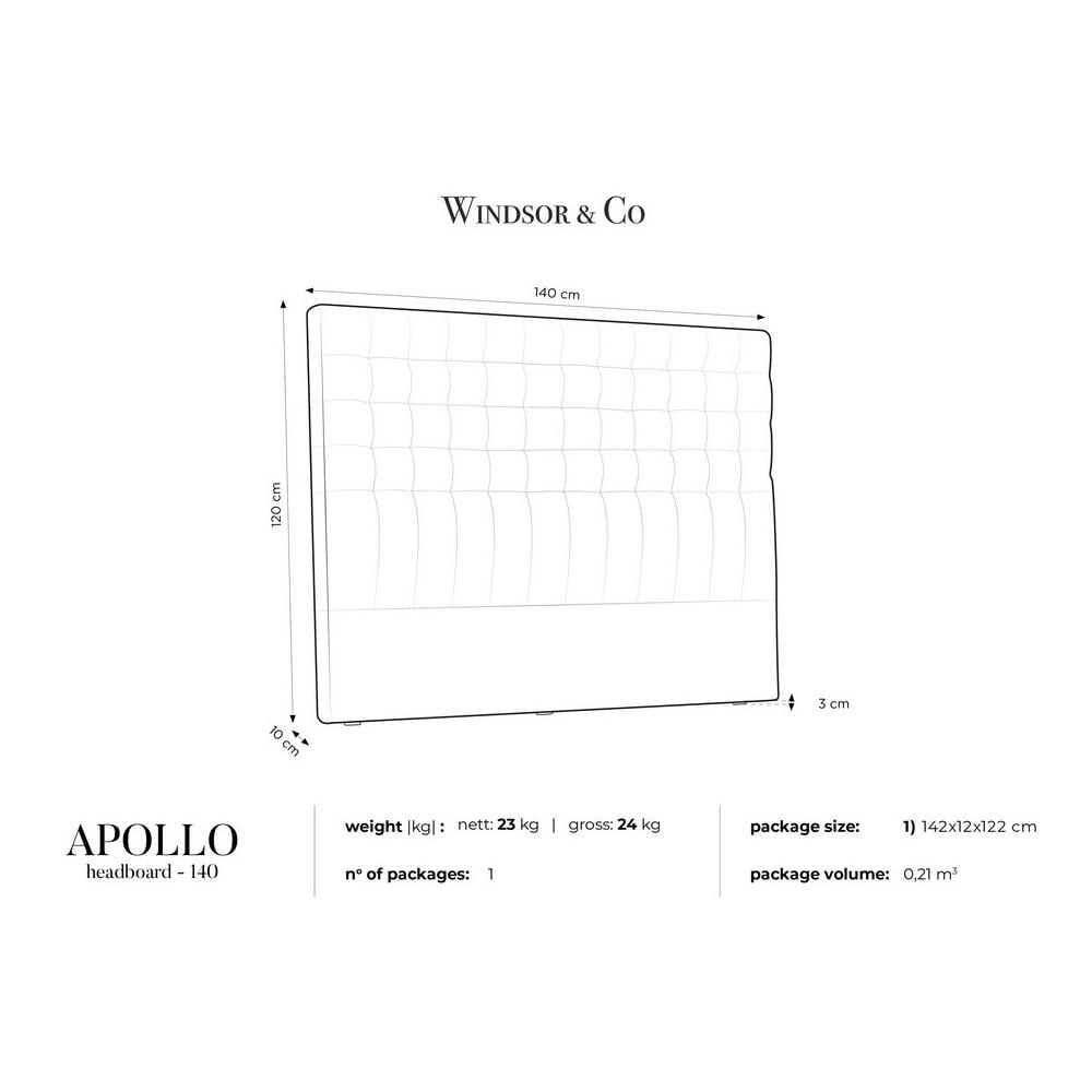 Produktové foto Šedé čelo postele se sametovým potahem Windsor & Co Sofas Apollo, 140x120cm
