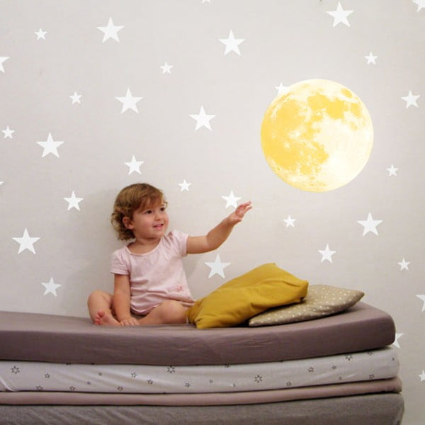 Ve tmě svítící samolepka Walplus Měsíc