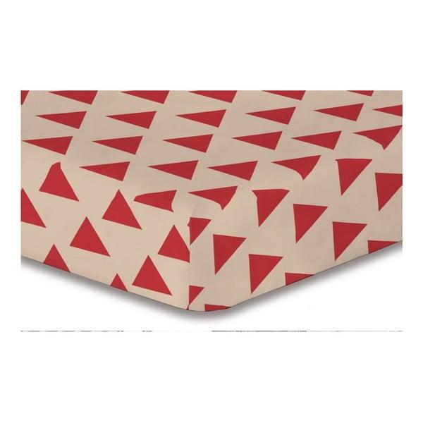 Cearșaf din microfibră cu elastic DecoKing Hypnosis Triangles Cintia, 140x200cm