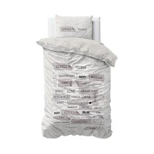 Šedé povlečení z mikroperkálu Sleeptime Lovely Things, 140x220cm