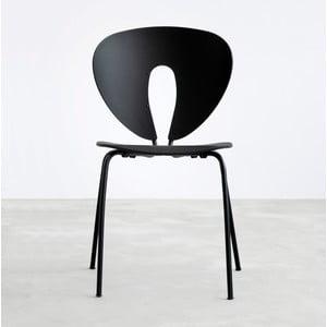 Černá židle s černými chromovanými nohami Stua Globus