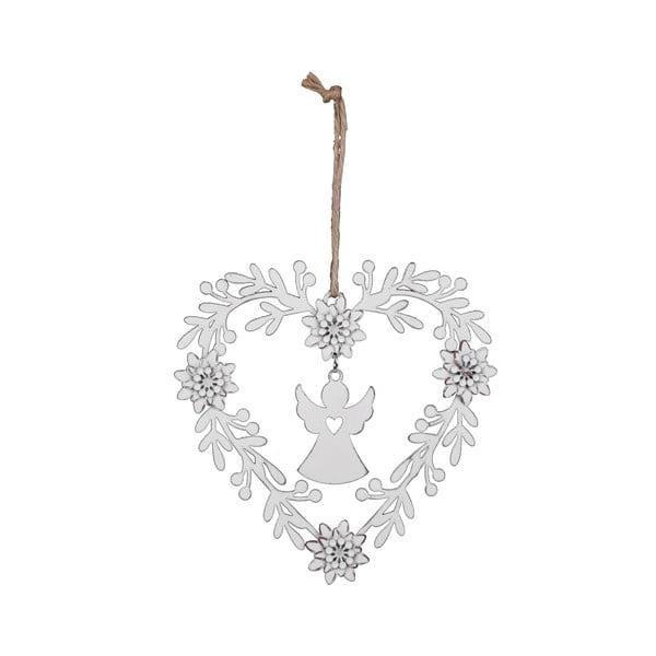 Bílá vánoční ozdoba ve tvaru srdce s andělem Ego Dekor