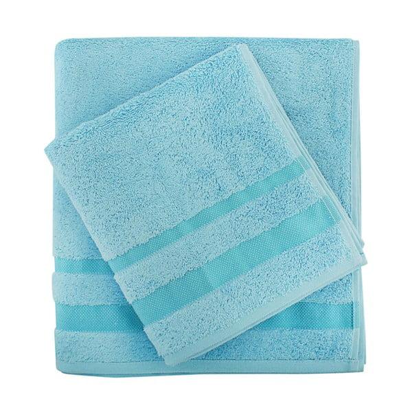 Sada modrého ručníku a osušky Serit