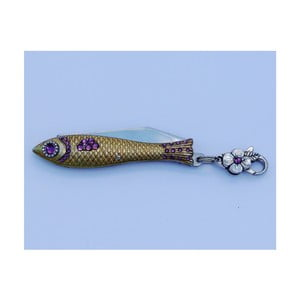 Český nožík rybička Provence s krystaly, zlatá