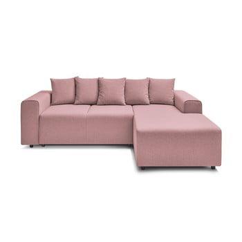 Canapea extensibilă cu extensie pe partea dreaptă Bobochic Paris FARO, roz deschis imagine