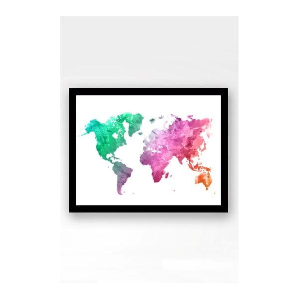 Nástěnný obraz na plátně v černém rámu Tablo Center World, 29 x 24 cm