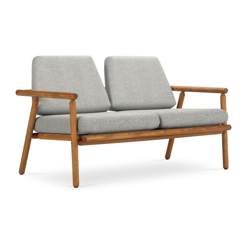 Venkovní dvoumístná pohovka v šedé barvě s konstrukcí z masivního akáciového dřeva Calme Jardin Capri Premium