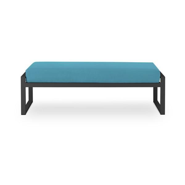Nicea kék kétszemélyes kültéri pad fekete kerettel - Calme Jardin