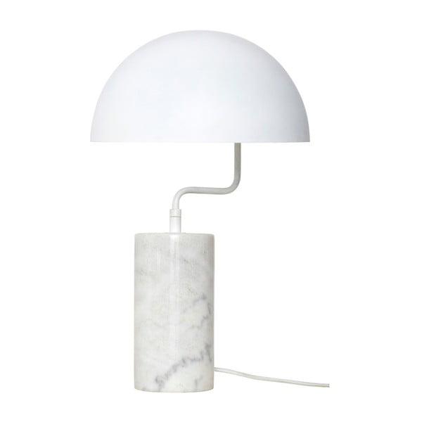 Biała żelazna lampa stołowa z marmurowymi detalami Hübsch Gero