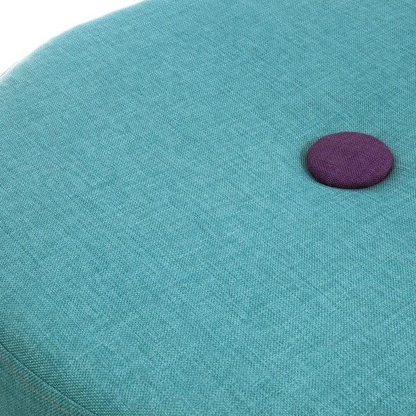 Sedací taburetka Doude, tyrkysová s fialovým knoflíkem