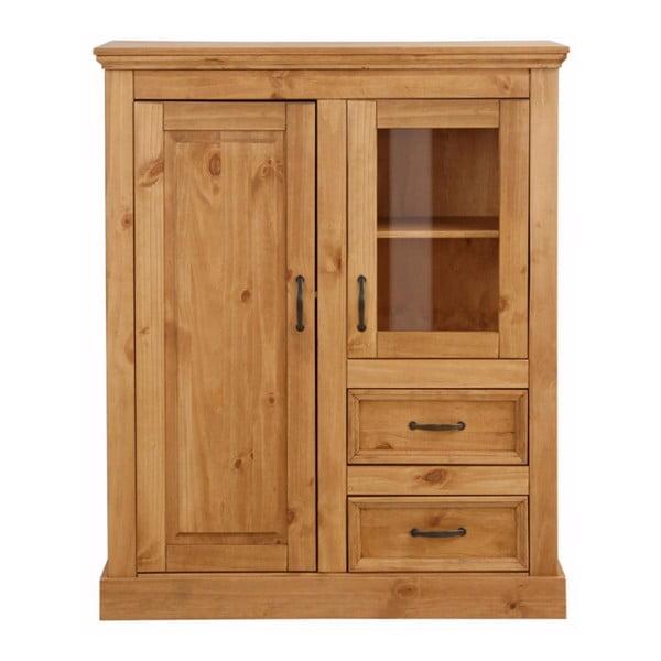 Hnědá dvoudveřová skříňka z masivního borovicového dřeva Støraa Suzie