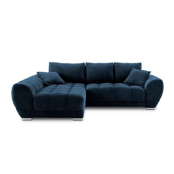 Královsky modrá rozkládací rohová pohovka se sametovým potahem Windsor & Co Sofas Nuage, levýroh