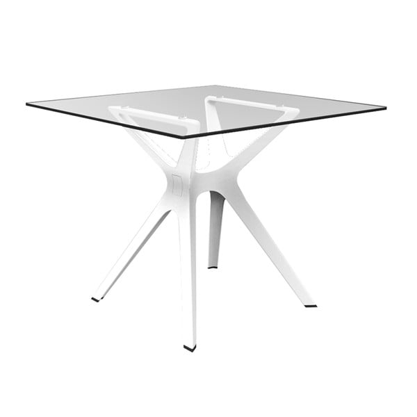 Bílý jídelní stůl se skleněnou deskou vhodný do exteriéru Resol Vela, 90 x 90 cm
