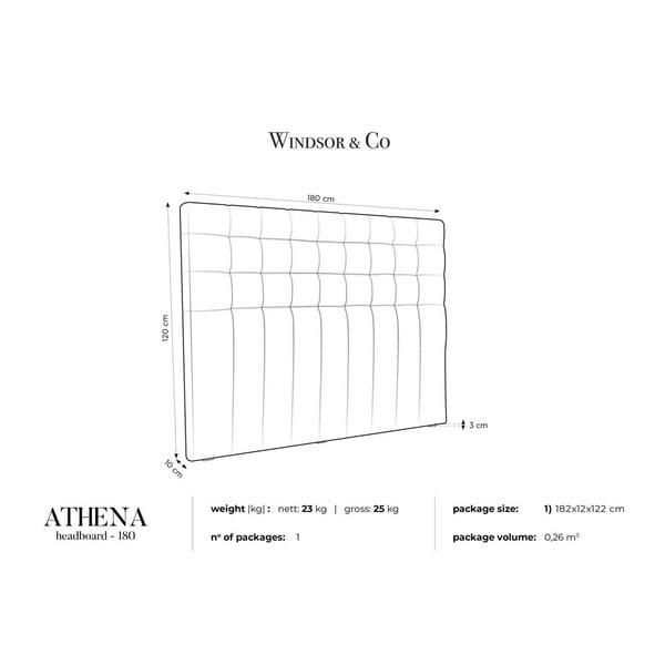 Lahvově zelené čelo postele se sametovým potahem Windsor & Co Sofas Athena, 180x120cm