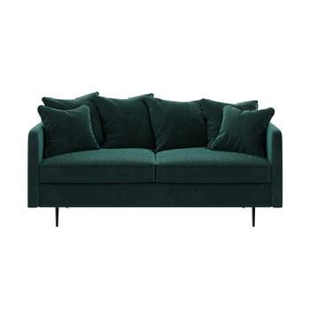 Canapea cu tapițerie din catifea Ghado Esme, 176 cm, verde - turcoaz închis