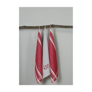 Sada 3 červeno-bílých kuchyňských utěrek My Home Plus Flowers, 50 x 70 cm