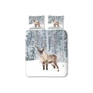 Šedé povlečení na dvoulůžko Muller Textiels Deer in Snow, 200 x 200 cm