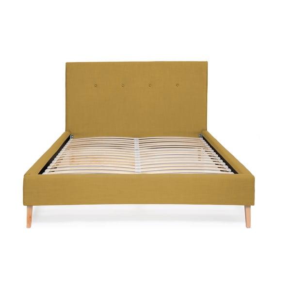 Musztardowe łóżko Vivonita Kent Linen, 200x180cm