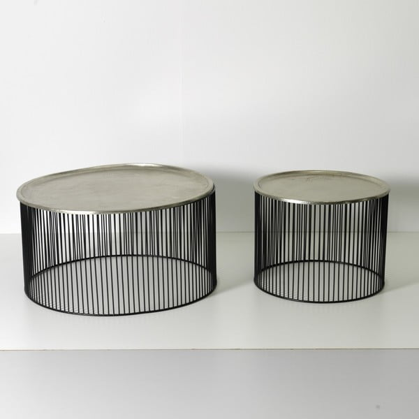 Černo-stříbrný odkládací stolek Thai Natura, Ø 56 x 42 cm
