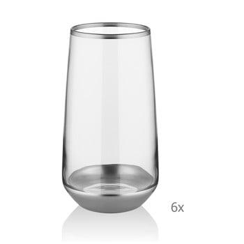 Set 6 pahare Mia Glam Silver, 380 ml