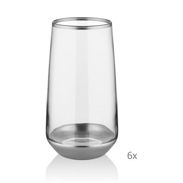 Sada 6 skleniček Mia Glam Silver, 380 ml