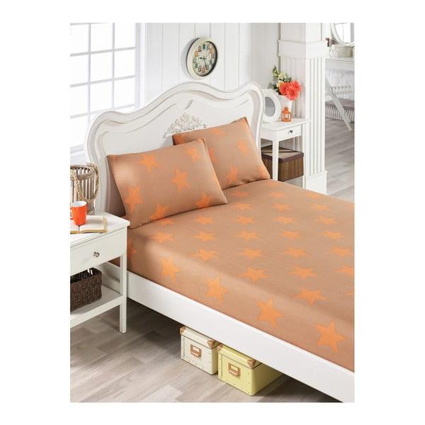Set bavlněného oranžového prostěradla a 2 povlaků na polštáře na jednolůžko Stars Lusno, 100 x 200 cm